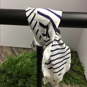 Rubi navy and white striped 21x21 square scarf